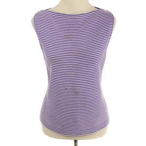 🍍St. John Purple & White Striped Sleeveless Top
